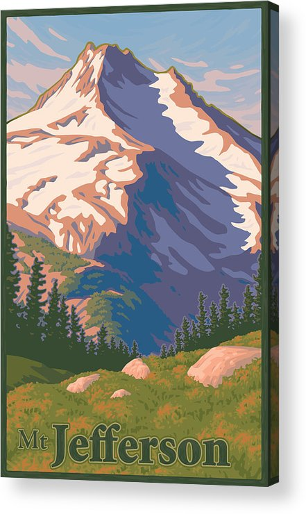 Portland Acrylic Print featuring the digital art Vintage Mount Jefferson Travel Poster by Mitch Frey