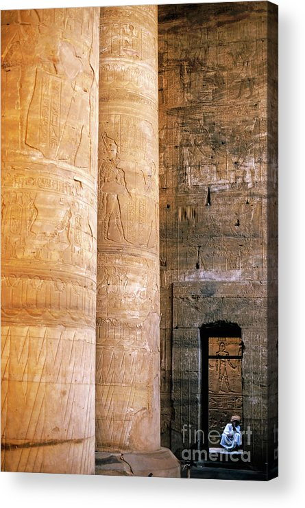 Adult Acrylic Print featuring the photograph Columns With Hieroglyphs Depicted Horus At The Temple Of Edfu by Sami Sarkis