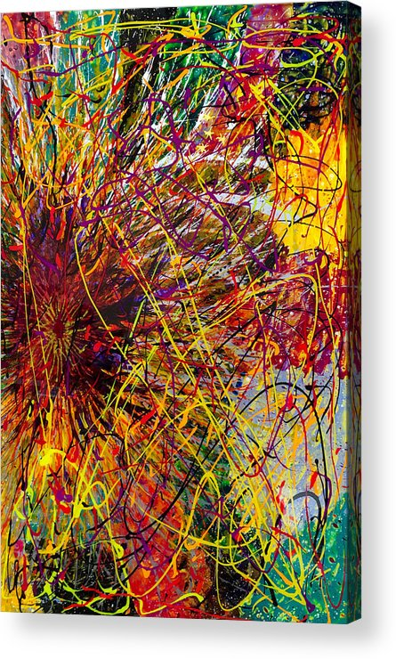 Abstract Acrylic Print featuring the painting 16-10 String Burst by Patrick OLeary