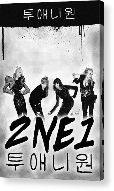 2ne1 투애니원 Power Acrylic Print featuring the drawing 2ne1 Korean Pop Power by Kenal Louis