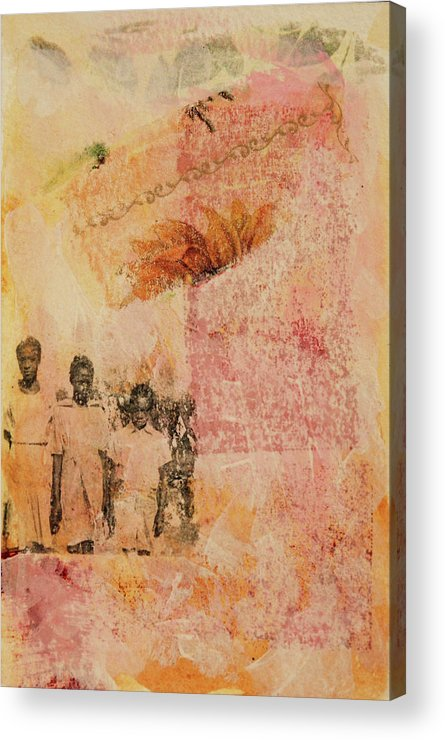 Black Children Acrylic Print featuring the mixed media 3 In A Row by Roberta Rose