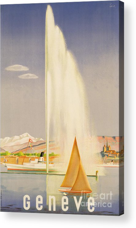 Advertisement For Travel To Geneva Acrylic Print featuring the painting Advertisement For Travel To Geneva by Fehr