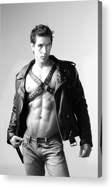 Male Acrylic Print featuring the photograph Alan In Leather by Dan Nelson
