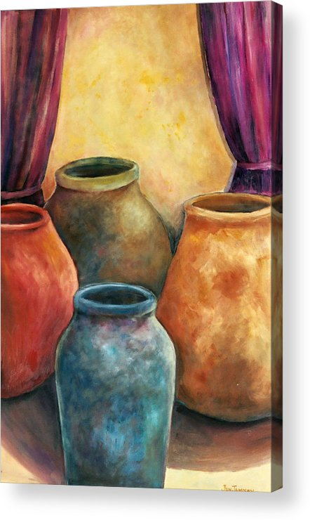 Trinity Acrylic Print featuring the painting Are We Not Clay by Jun Jamosmos
