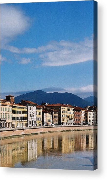 Pisa Acrylic Print featuring the photograph Arno River Pisa Italy by Kathy Schumann