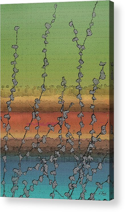 Contemporary Abstract Water Vines Nature Vibrant Green Orange Blue Gordon Beck Art Acrylic Print featuring the painting Beside Still Waters by Gordon Beck