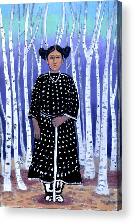 Native American Acrylic Print featuring the painting Birch Tree Forest by Susan Stewart