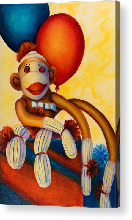Sock Monkey Brown Acrylic Print featuring the painting Birthday Made Of Sockies by Shannon Grissom