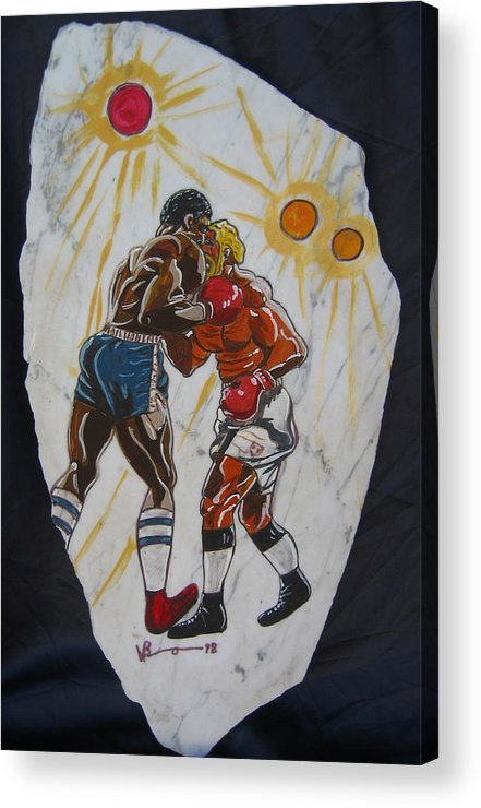 Boxing Acrylic Print featuring the mixed media Black And White by V Boge