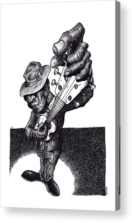 Blues Acrylic Print featuring the drawing Blues Guitar by Tobey Anderson