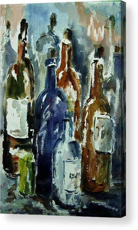 Still Life Acrylic Print featuring the painting Bottle In A Dusty Cellar by Wilfred McOstrich