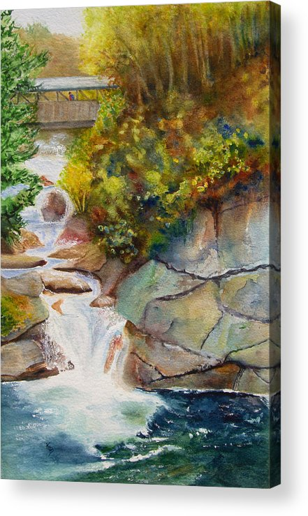 New England Acrylic Print featuring the painting Bridge Over Traveled Water by Karen Fleschler