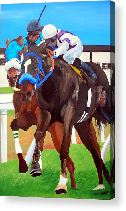 Horse Racing Acrylic Print featuring the painting By A Nose by Michael Lee