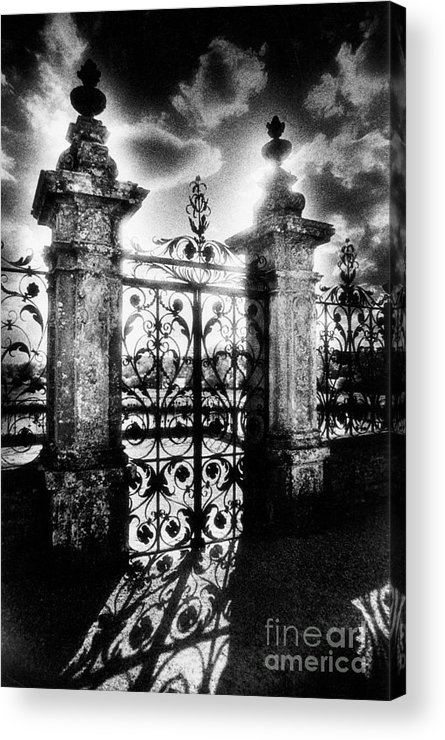 Gate; Wrought Iron; Posts; Pillars; Entrance; Portal; Grand; Grandiose; French; Metalwork; Ornate; Atmospheric; Spooky; Eerie; Fairytale; Moonlit; Moonlight; Dramatic; Portal; Castle; Renaissance; Baroque Acrylic Print featuring the photograph Chateau De Carrouges by Simon Marsden