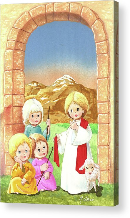Nativity Acrylic Print featuring the painting Child Shepherds by Laura Greco