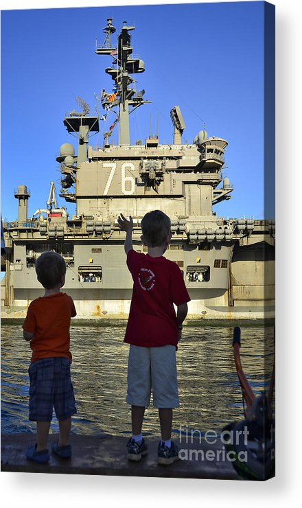 Aircraft Carrier Acrylic Print featuring the photograph Children Wave As Uss Ronald Reagan by Stocktrek Images