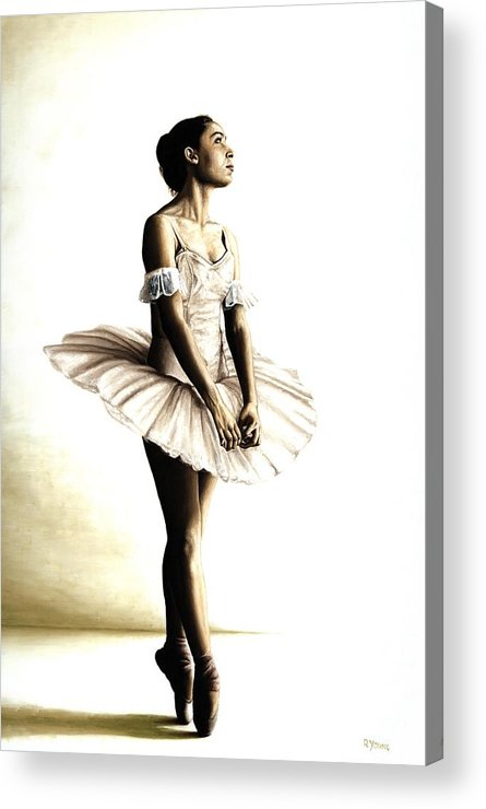 Ballet Acrylic Print featuring the painting Dancer At Peace by Richard Young