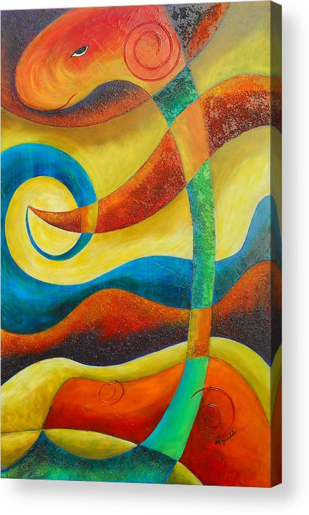 Abstract Expressionism Acrylic Print featuring the painting Dinosaur by Marta Giraldo
