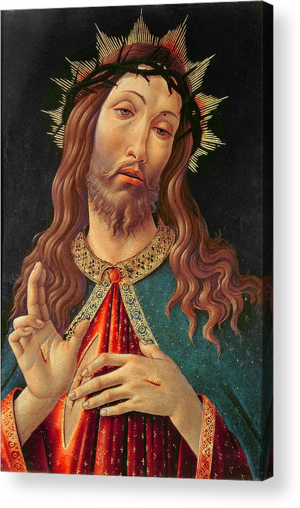 Ecce Acrylic Print featuring the painting Ecce Homo Or The Redeemer by Botticelli