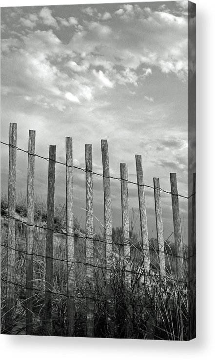 Vertical Acrylic Print featuring the photograph Fence At Jones Beach State Park. New York by Gary Koutsoubis
