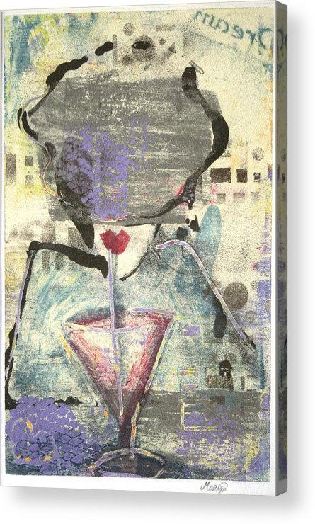 Cafe Acrylic Print featuring the painting Girl With Drink by Maryn Crawford