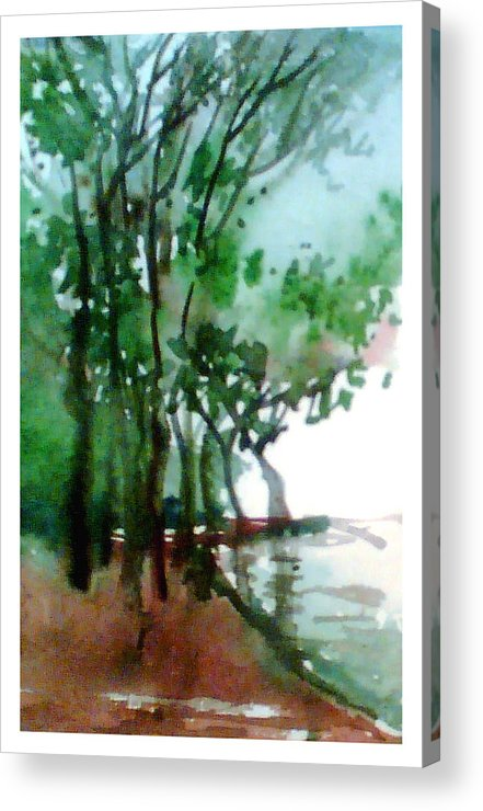 Water Color Acrylic Print featuring the painting Greens by Anil Nene
