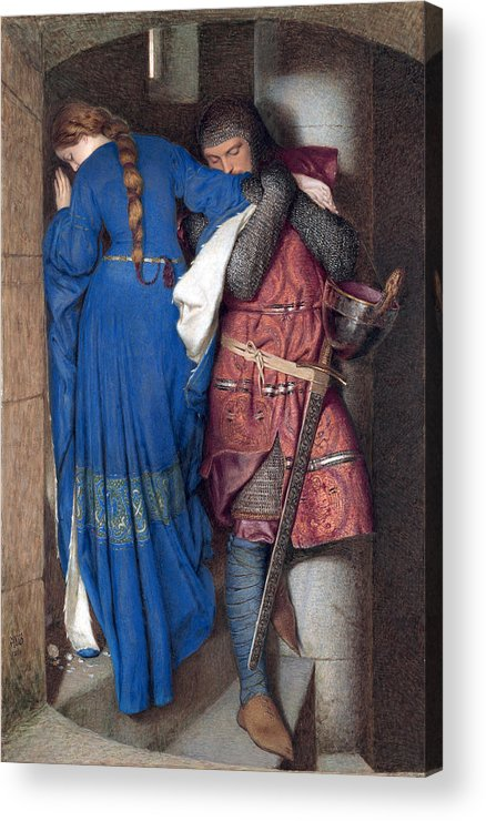 Frederic William Burton Acrylic Print featuring the drawing Hellelil And Hildebrand Or The Meeting On The Turret Stairs by Frederic William Burton