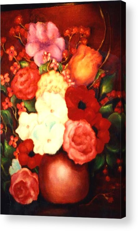 Flowers Acrylic Print featuring the painting Jewel Flowers by Jordana Sands
