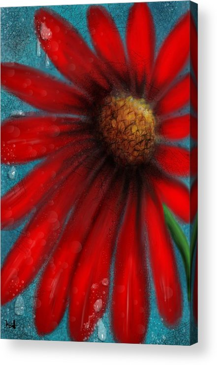 Flowers Acrylic Print featuring the digital art Large Red Flower by Kathleen Hromada