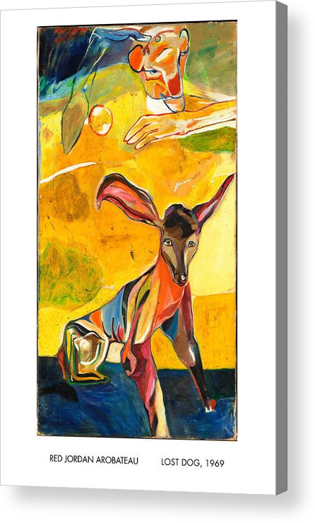 Dogs Acrylic Print featuring the painting Lost Dog by Red Jordan Arobateau