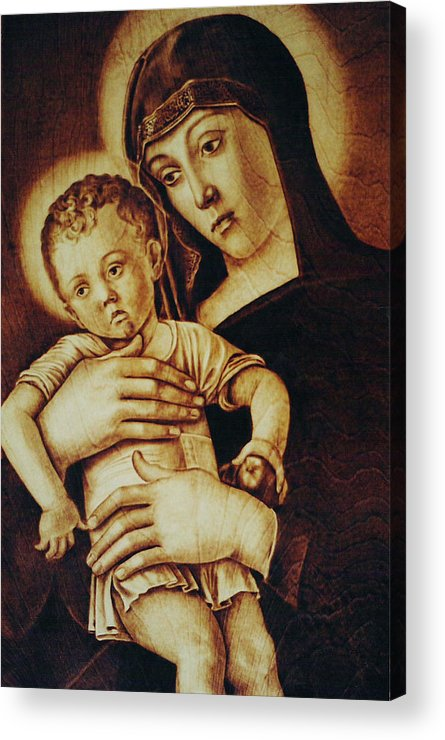 Dino Muradian Acrylic Print featuring the pyrography Madonna Greca - Detail by Dino Muradian