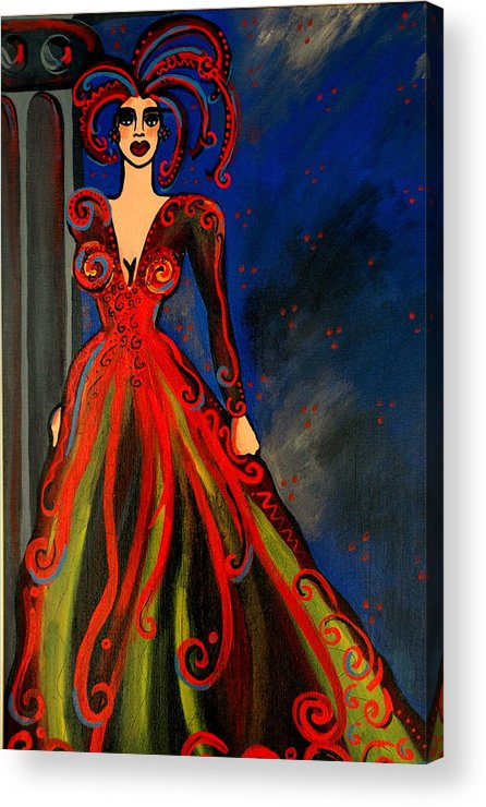 Couture Artwork Acrylic Print featuring the painting Mardi Gras by Helen Gerro