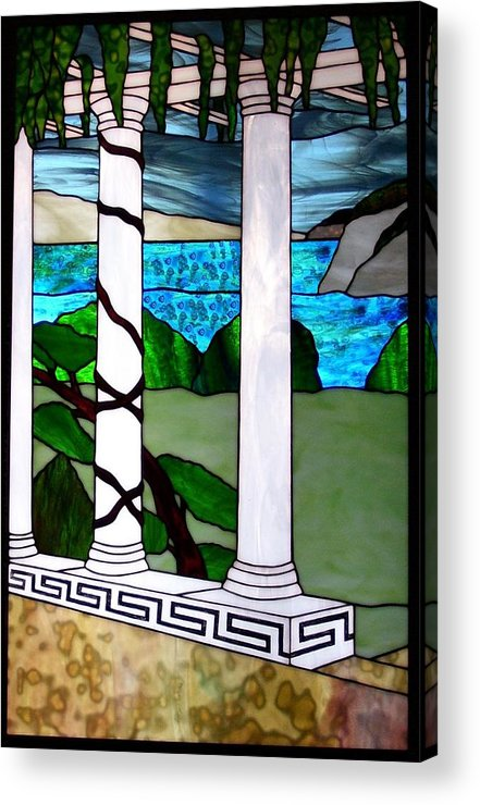 Landscape Acrylic Print featuring the glass art Marina's Terrace by Barbara Harris