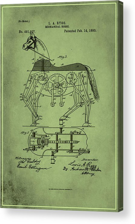 Patent Acrylic Print featuring the mixed media Mechanical Horse Patent Art 1p by Brian Reaves