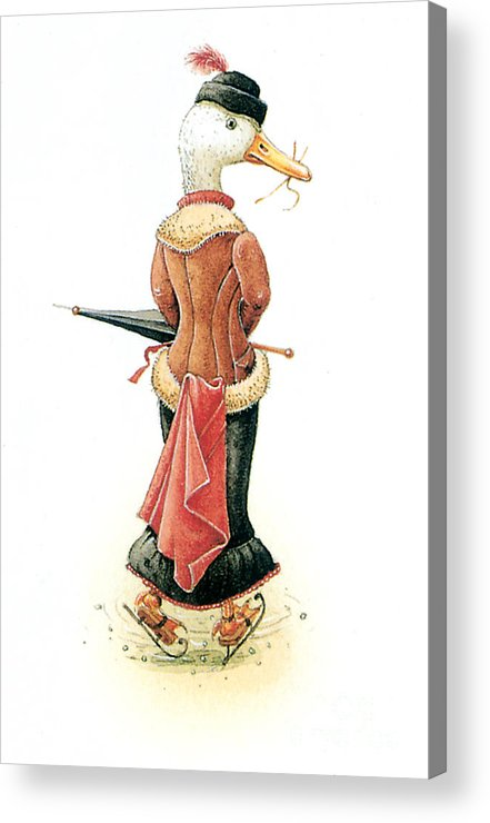 Duck Ice Skating Winter Christmas Greeting Cards Acrylic Print featuring the painting Miss Duck by Kestutis Kasparavicius