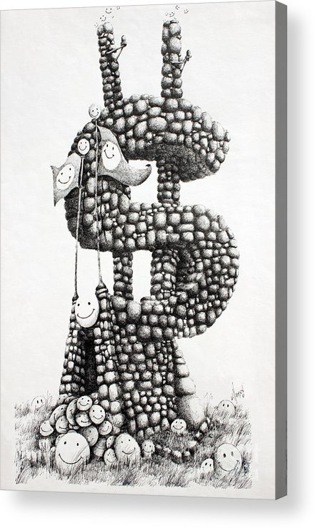 Money Fine Art Print Acrylic Print featuring the drawing Money Monument by James Williamson