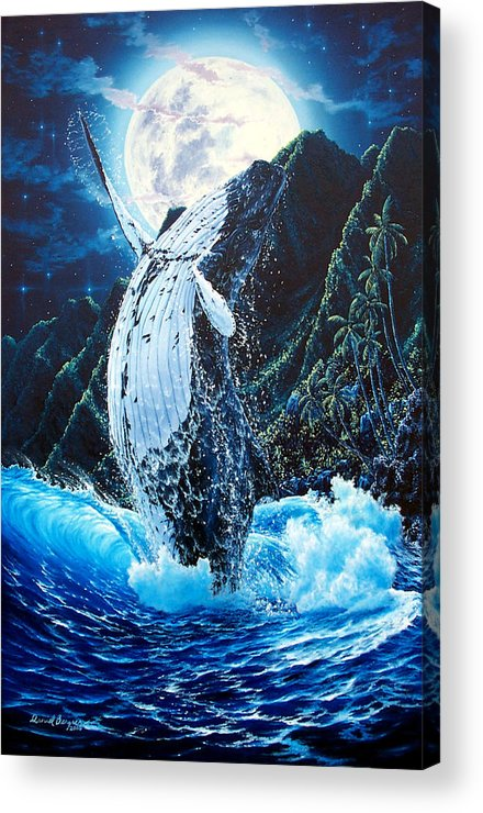 Dolphin Acrylic Print featuring the painting Moondance by Daniel Bergren