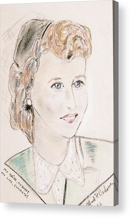 Portrait Young Bride In Love Acrylic Print featuring the drawing Ms Margot by Alfred P Verhoeven