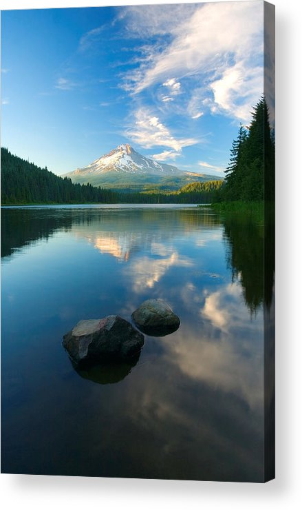 Mt. Hood Acrylic Print featuring the photograph Mt. Hood Cirrus Explosion by Mike Dawson