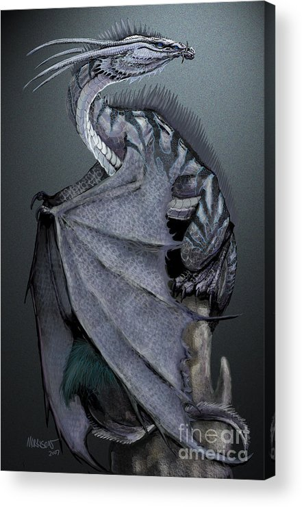 Dragon Acrylic Print featuring the digital art Nickel Dragon by Stanley Morrison