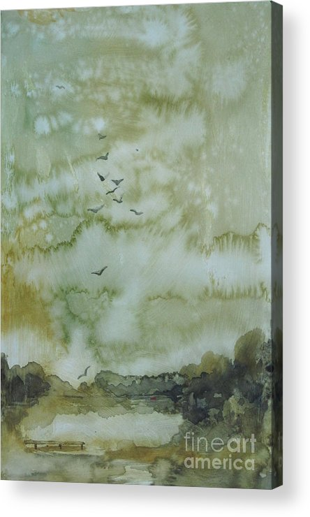 Pond Acrylic Print featuring the painting On Golden Pond by Elizabeth Carr