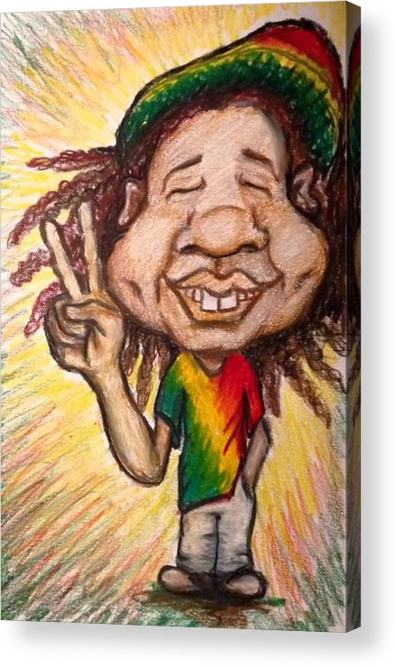 Rasta Acrylic Print featuring the painting One Love by Maria Hatefi