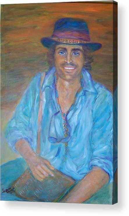 Portrait Of A Gypsy Against A Santa Fe Sky Acrylic Print featuring the painting Oshkosh By Gosh by Suzanne Reynolds