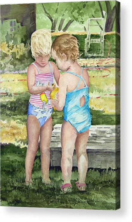 Children Acrylic Print featuring the painting Pals Share by Sam Sidders