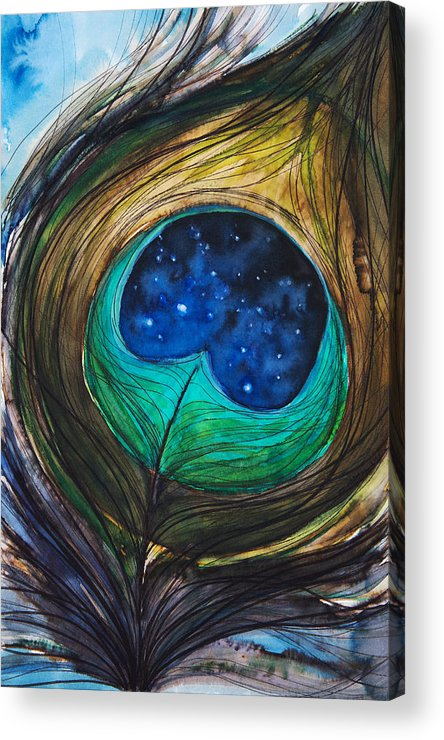 Abstract Acrylic Print featuring the painting Peacock Feather by Tara Thelen
