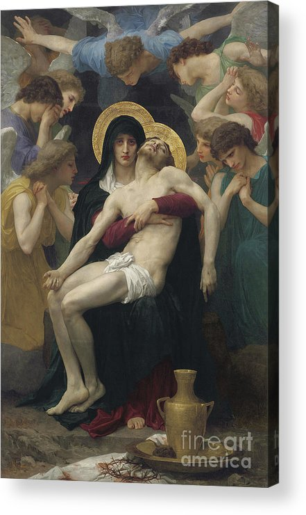Pieta Acrylic Print featuring the painting Pieta by William Adolphe Bouguereau