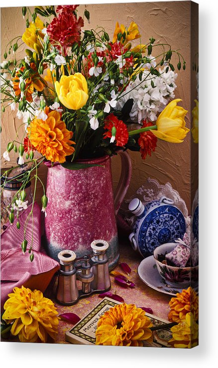 Binoculars Acrylic Print featuring the photograph Pitcher Of Flowers Still Life by Garry Gay