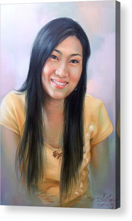 Woman Acrylic Print featuring the painting Ponchan by Chonkhet Phanwichien