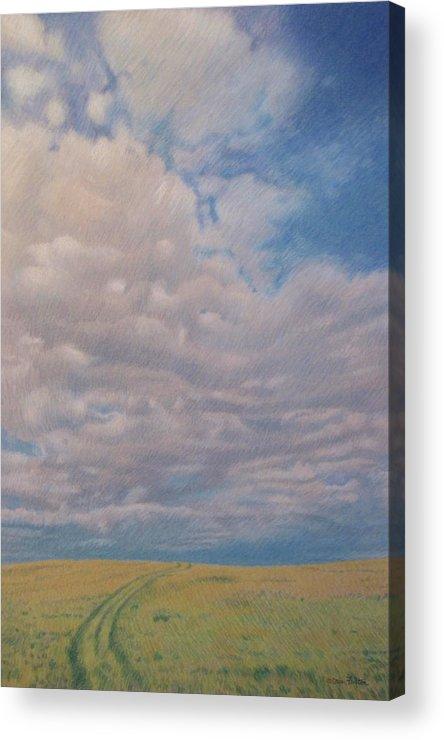 North Dakota Acrylic Print featuring the pastel Prairie Trail by Cris Fulton