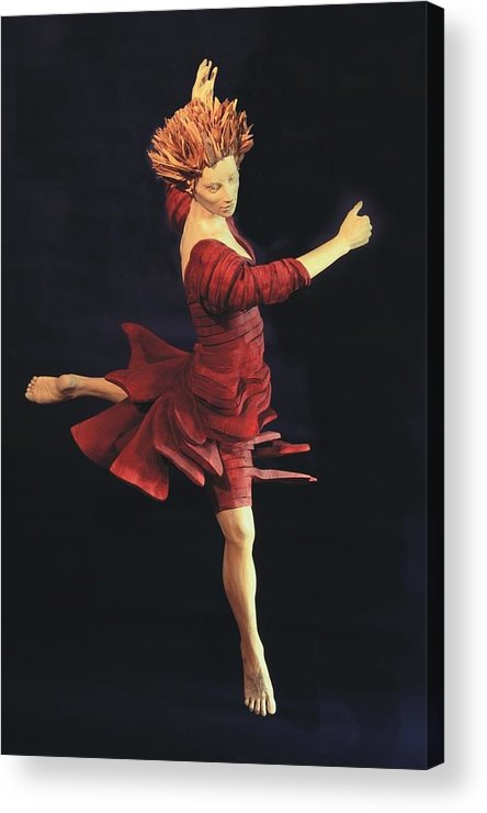 Ballerina Acrylic Print featuring the sculpture Red Dancer Front View by Gordon Becker